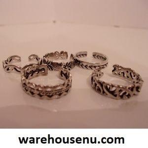 Five Silver Adjustable Rings  10231903